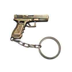 Chaveiro de Metal Pistola GLOCK Bronze